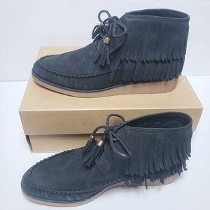 UGG Caleb Nubuck Leather Wedge Fringe Ankle Bootie